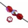 Czech Fire polished 4mm Transparent medium Siam Ruby Aurora Borealis